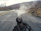 Centralia PA burned town garbage in a pit. In 1962, the garbage burning got out of control and a massive underground coal fire began. For 46 years now, and despite all the attempts to extinguish it, the fire is still burning and some experts guess this might last for another 250 years. All inhabitants were of course evacuated, the last ones left the town in 1992, as the carbon monoxide emissions reached critical levels and deep holes began to appear all of a sudden.
