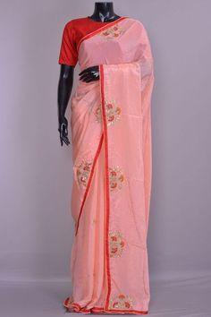 Peach Gota Embroidered Crepe Saree-KD2506 Saree Blouse, Sari, Crepe Saree, Embroidery Saree, Punjabi Suits, Woman Clothing, Saree Wedding, Sarees Online, Artworks