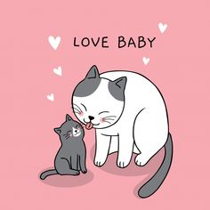Dibujos animados lindo mamá y bebé gato vector. Cute Cats And Dogs, Cool Cats, Gatos Vector, Cat Character, Dog Poster, Cartoon Sketches, Cat Drawing, Baby Cats, Cute Illustration