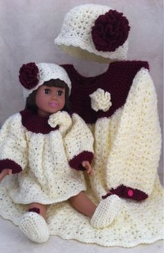 """Picture of 18"""" Paper Moon Dolly & Me Dress Set Crochet Pattern"""