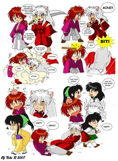 Inuyasha vs Kenshin. Cute cross-over, although I think Kaoru is a much harsher mistress.