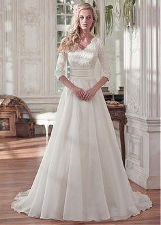 Elegant Tulle & Organza Satin V-neck Neckline A-line Wedding Dresses With Beaded Lace Appliques #weddingdress