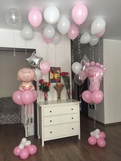 Welcome baby girl decor - Baby interests Baby Door Decorations, Welcome Home Decorations, Girl Baby Shower Decorations, Boy Baby Shower Themes, Girl Decor, Balloon Decorations, Baby Decor, Baby Boy Shower, Deco Baby Shower