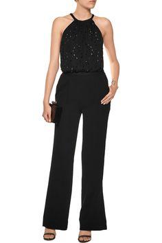 Diane von FurstenbergCrystal-embellished silk-chiffon and crepe jumpsuitback