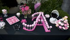 Pinner: cake pop stand - no info (my idea: purchase large letters from craft stores and drill holes for cake pops) Cake Pops, Cake Pop Stands, Diy Cake Pop Stand, Candy Table, Candy Buffet, Cake Pop Displays, Party Decoration, Cupcake Cookies, Let Them Eat Cake
