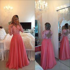 2015 New Fashion Vestidos  V Neck Elegant Lace Applique Coral Sexy Long Sleeve Prom Dresses Pageant Party Gowns Vestido de festa