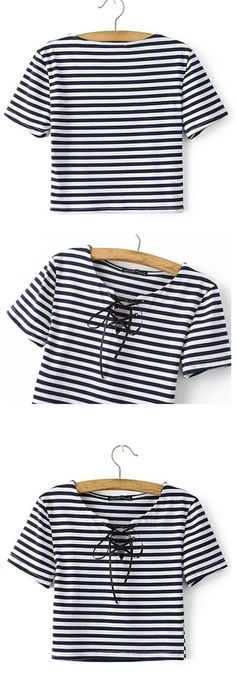 Super cute striped lace up top! Never worn out, only tried on.Let the good day welcome you with a gentle breeze by wearing this lovely crop top. (Try Clothes) Diy Fashion, Fashion Outfits, Fashion Design, Cool Outfits, Casual Outfits, Diy Vetement, Clothing Hacks, Cut Shirts, T Shirt Diy