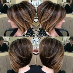 layered brown bob with balayage highlights by Kelly Jelic