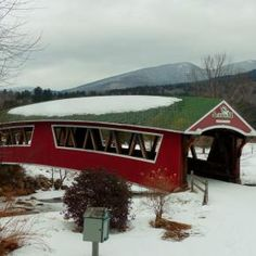 Old New Hampshire snow covered, covered bridge