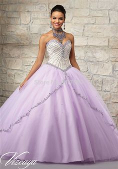 >> Click to Buy << 2016 Newest Lavender Quinceanera Dresses Ball Gowns Beaded Organza Sweetheart Floor-LengthVestidos De 15 Anos QUa54 #Affiliate