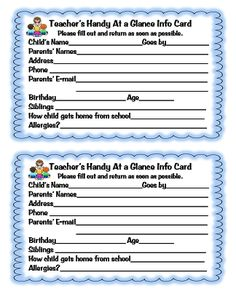 First Grade Wow: Beginning of the Year Forms