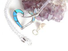 Opal Dragonfly / Heart Necklace Opal Heart by AlwaysCrafty77, $65.00