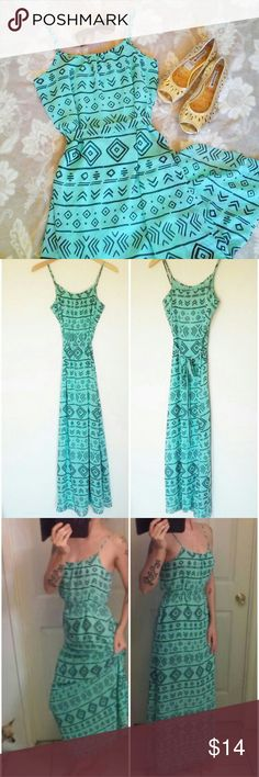 Mint Aztec Tribal Hippie Sheer Layered Maxi Dress This gorgeous minty green maxi is brand new with tags, features adjustable shoulder straps, cloth belt, and a lightweight, comfortable sheer design.  Perfect for summer days, with the advantage of light & cool material, without leaving you feeling too exposed!  Dress it up or down- Totally picnic, beach, wedding shower and date night worthy! Forever 21 Dresses Maxi