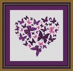 BUTTERFLY HEART -Embroidery pattern ,Cross Stitch PDF, Instant download , free shipping