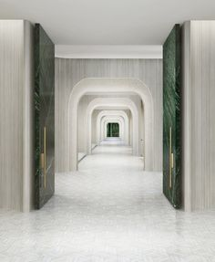 Symetry marble green doors , cream/white interior corridor Source by Hotel Corridor, Hotel Door, Lobby Interior, Luxury Interior, Resort Interior, Contemporary Interior, Architecture Details, Interior Architecture, Ceiling Texture Types