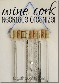 Wine Cork Necklace Organizer – Trish Sutton - 16 Brilliant Ideas for DIY Jewel. Wine Cork N Wine Cork Jewelry, Diy Jewelry Rings, Diy Jewelry Unique, Diy Jewelry To Sell, Diy Jewelry Holder, Jewelry Hanger, Diy Necklace Organizer, Diy Necklace Holder, Necklace Hanger