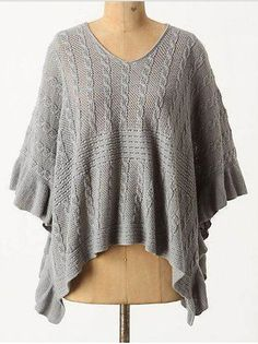 Anthropologie Arched Ripples Cable Knit Shrug Pullover Sweater Sz M/L Tunic #Anthropologie #Tunic