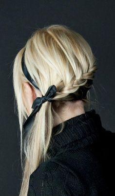French braid side pony with ribbon. So cute.