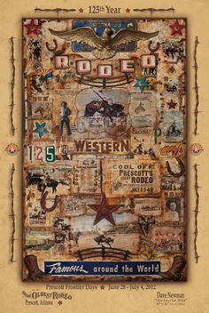 Arizona - The founding State of Rodeo. Prescott, AZ - home of the World's Oldest Rodeo. Everett Bowman from Wickenburg, AZ founded the PRCA (Professional Rodeo Cowboys Association) which governs a third of all rodeos staged in the US annually Prescott Valley, Prescott Arizona, State Of Arizona, Arizona Travel, Professional Bull Riders, Rodeo Cowboys, Dry Heat, Horse Posters, Montezuma