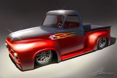 A collection of renderings, manual and digital. Hot Rod Pickup, Old Pickup, F100 Truck, Pickup Trucks, Hot Rod Trucks, Cool Trucks, Classic Ford Trucks, Classic Cars, 56 Ford F100
