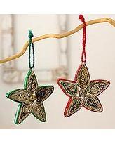 Recycled paper ornaments, 'Stars of Joy' (set of 4) (Guatemala)