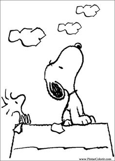 snoopy coloring picture always looking up - Snoopy Friends Coloring Pages