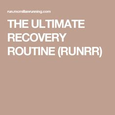 THE ULTIMATE RECOVERY ROUTINE (RUNRR)