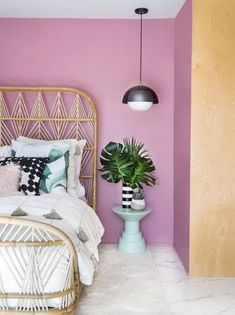 This bedroom decked in a lovely pink hue breathes youthfulness and vibrance into this space. If you're not sure where to start in picking a paint color for your bedroom, we've got 17 ideas just for you. Best Bedroom Paint Colors, Bedroom Colour Palette, Bedroom Color Schemes, Coastal Master Bedroom, Bedroom Decor, Bedroom Ceiling, Bedroom Wall, Interior Design Color Schemes, Minimalist Room