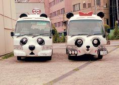 - o - Hanayashiki    Panda buses parked outside the old amusment park.