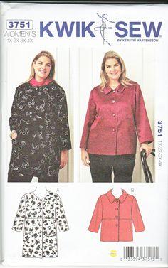 d3ffe16b177e7 Kwik Sew Sewing Pattern 3751 K3751 Women s Plus Sizes 22W-32W Button Front  Jacket