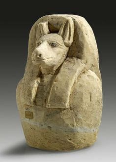 Canopic jar with the head of a jackal, depicting Duamutef, one of the sons of the god Horus. half of the Third Intermediate Period or Late Period, Egypt. Ancient Egyptian Artifacts, Historical Artifacts, Ancient History, Egypt Mummy, Canopic Jars, Modern Egypt, Vases, Ancient Civilizations, Egyptians