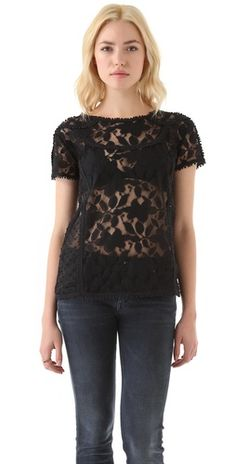Another racy selection, but I think the intricate naturally patterned lace adds a bit of class as well.  It has a very conservative neckline as well.  Seal of Approval :)    Madewell Carrie Lace Tee