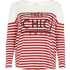 River Island Red stripe tres chic l'amour t-shirt found on Polyvore