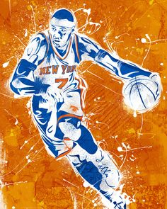 New York Knicks Carmelo Anthony by Caroline Blanchett, available in fine art prints and canvases at www.RAREINK.com. Official Art of the NBA. $99.