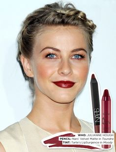 "Makeup artist Molly Stern both lined and filled in the actress' lips with Nars' Velvet Matte Lip Pencil ($24) in Toundra. ""For a little sheen and bottom lip pout,"" Stern added a touch of Tarte LipSurgence Lip Tint ($24) in Moody on top."