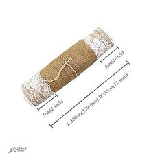 GFCC Burlap Lace Hessian Table Runner Natural Jute with White Lace Table Runner for Wedding Party Banquet Table Decoration(12x120-Inch,10 Pack)