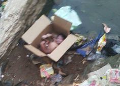 Shocking... See Photos Of Newborn baby found abandoned in a box