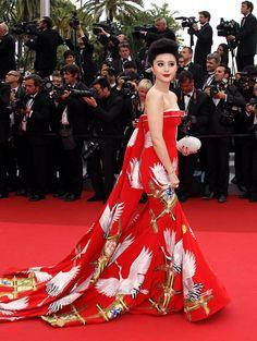 Fan Bingbing on the red carpet of the 2011 Cannes Film Festival.  Gown designed by Chris Bu Kewen.