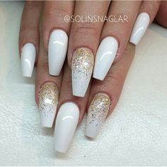Long nails,white,shine,gold,stiletto