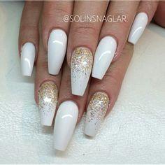 Long nails,white,shine,gold,stiletto