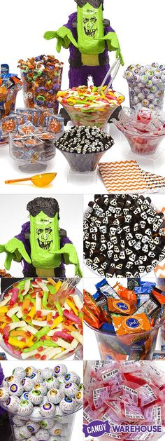 Our new One-Click Spooky Halloween Buffet Kit comes with all of the candy, bowls, scoops, and treat bags you need to terrify and delight guests of any age. It even includes a 19-inch Frankenstein pinata! http://www.candywarehouse.com/products/spooky-halloween-candy-buffet-kit-25-to-50-guests/