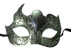 Silver Black Venetian Mask Masquerade Laser Cut Mardi Gras Unisex PM002SLBK NEW #KAYSOINC
