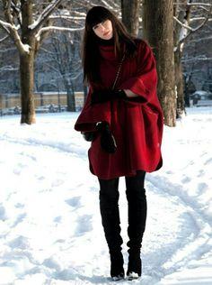 Rode winterjas