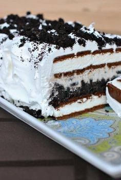Easy to make Oreo Ice Cream Cake. You'll want more than one slice!