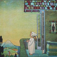 """Berta & Elmer Hader illustration from 1930s """"Mother Goose"""".  Star light...star bright..."""