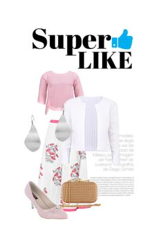 'super like' by me on Limeroad featuring White Skirts, Solids Pink Tops with Gold Clutches