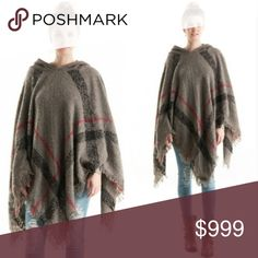 Coming soon!  Plaid Hoodie Poncho in Grey Whether it's football, a cozy stroll with your honey, or just looking awesome out on the town, this poncho has you covered. Grey plaid with fringe on the bottom. 100% Acrylic. One size. Fashionomics Accessories Scarves & Wraps