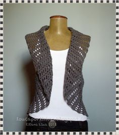 4f39b5f6f6b1e Crochet is very much on trend this year and I love this sleeveless vest. It  would look beautiful over a white blouse with some great black or grey  pants and ...