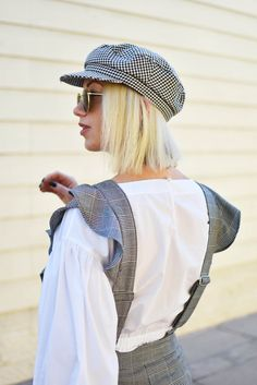 plaid ruffle jumpsuit, white sneakers, white balloon sleeve blouse