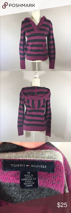 Tommy Hilfiger hooded sweater M long sleeve Good condition 100% cotton B 20 inches L 24 inches Tommy Hilfiger Sweaters Crew & Scoop Necks